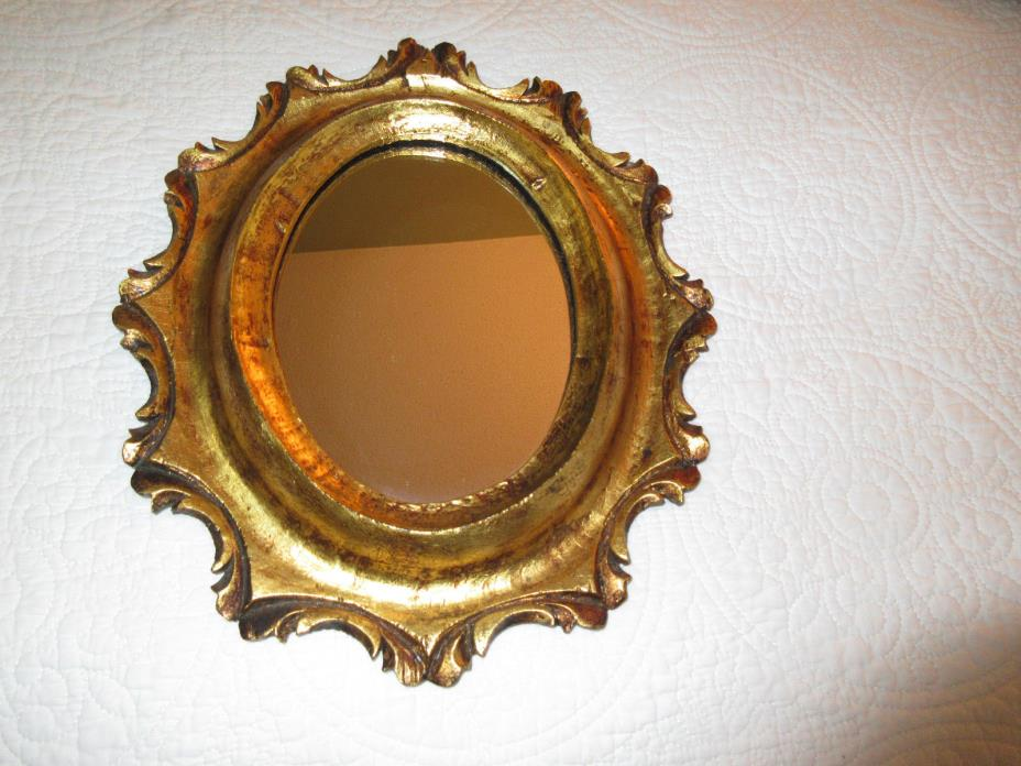 Vintage Gold Gilt Wood Mirror Frame Ornate Made in Mexico or Spain 10