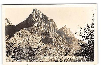 Utah-Zion National Park-The Watchman-Real Photo-Vintage Postcard