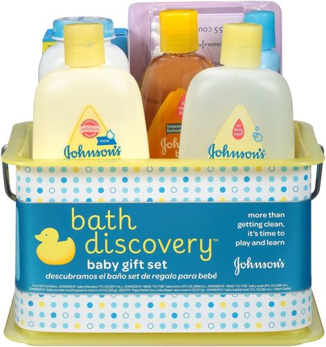 Johnson's Bath Discovery Gift Set For Parents-To-Be, Caddy With Bath 8 Items