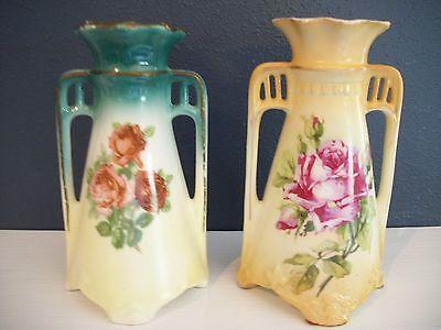 Vintage  Austrian and Czechoslovakian Pair of Decorative Vases Floral Design
