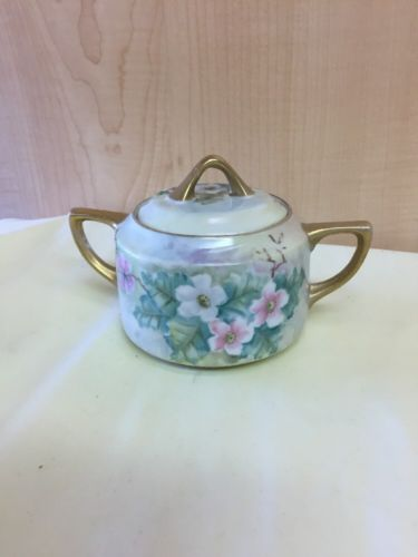 Vintage Porcelain Teapot Hand Painted OJ Williams Flower Gold Lidded