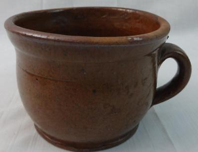 Antique Penna. Redware Handled Cup Orange Glaze