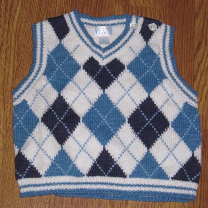 Boys 3-6 Months White/Blue/Navy Argyle Diamond Sweater Vest Children's Place EUC