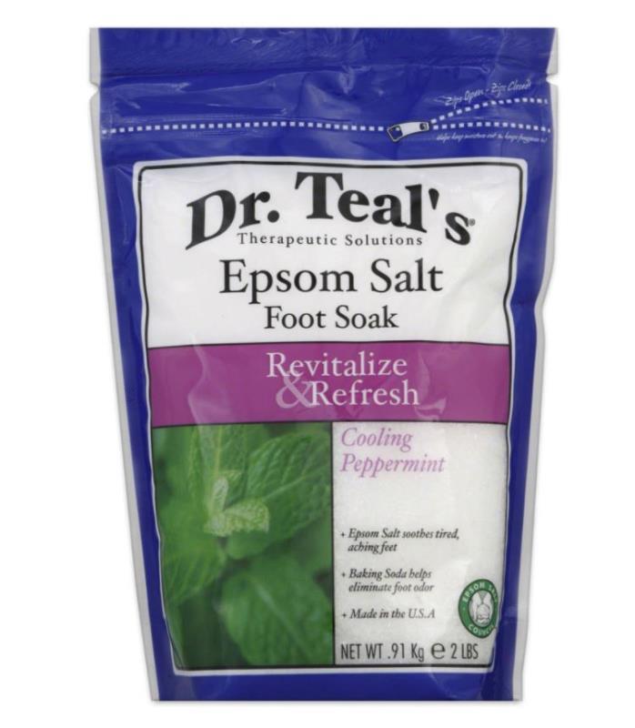 Dr. Teal's Epsom Bath Salt Foot Soak, Cooling Peppermint, 2 Pound Bag (6 Packs)