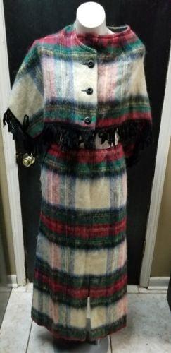Vtg Glenrannoch Mo Hair & Wool Scottish Plaid 2pc   outfit Skirt 12