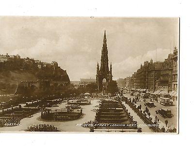Old post card postcard UK Princess Street looking west Edinburgh