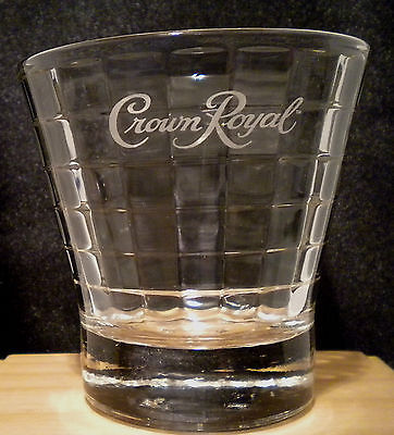 Crown Royal Lowball Rocks Bar Glass - Tapered, Raised Pattern - Mint Condition