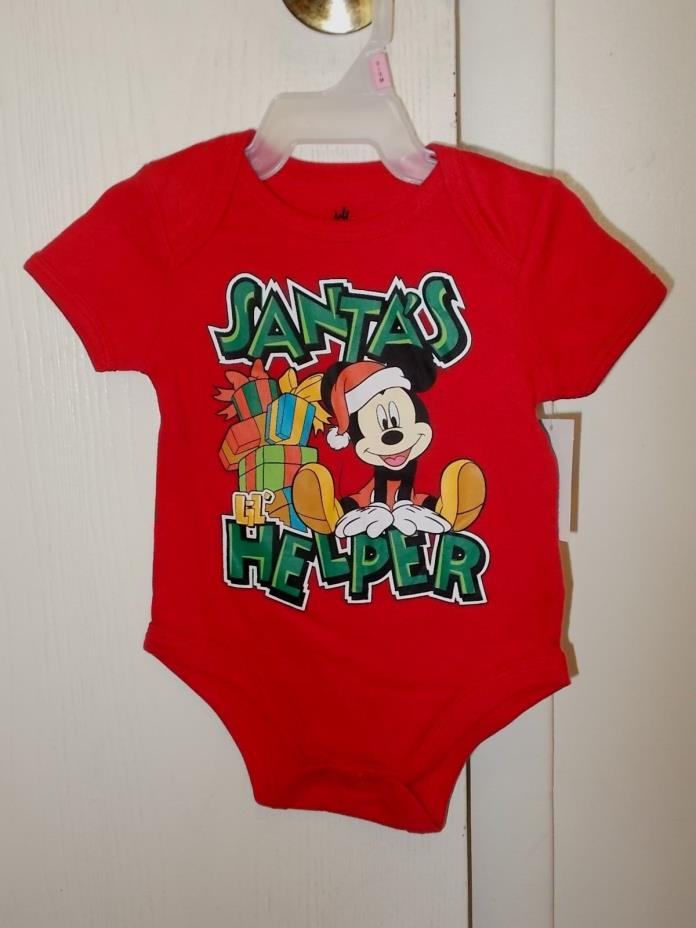 Boys Size 0-3 Months Disney's Mickey Mouse Red Christmas Creeper NWT