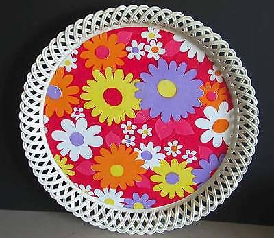 Mod Flowers Floral Tray w Retro Woven Plastic Border Decor 14