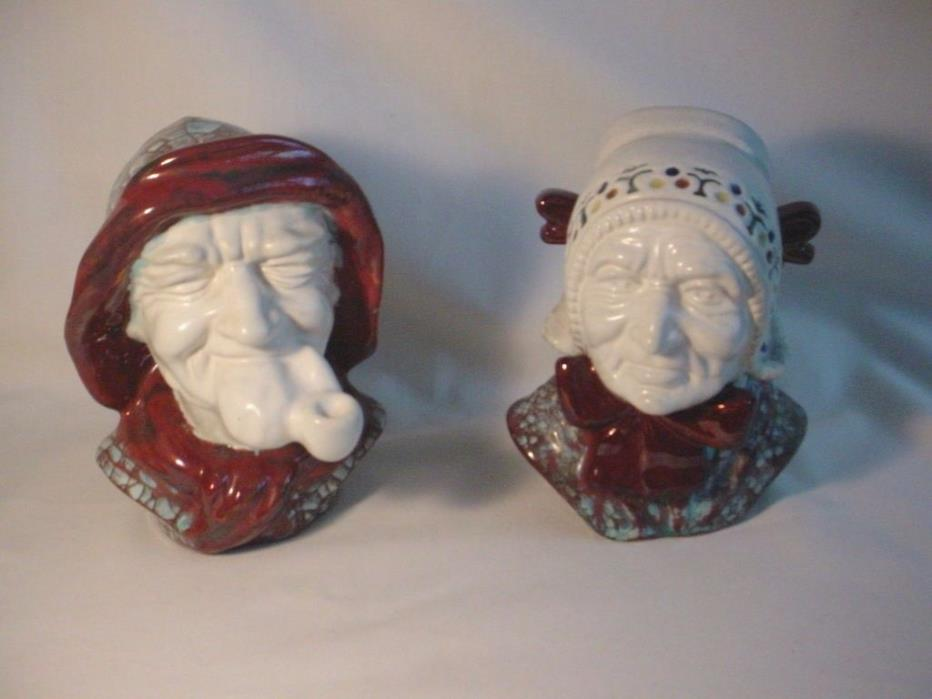 PR Michael Andersen & Sons Danish Pottery Crackle Glazed BUSTS -Fisherman & Wife