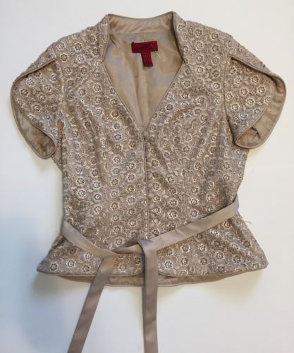 J. S. Collections Sz 6 Formal Evening Jacket Tan Beaded Lace Butterfly Sleeves