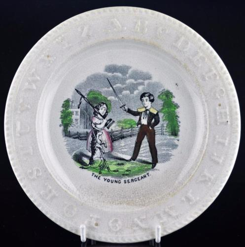 STAFFORDSHIRE POLYCHROME CHILDS ABC ALPHABET PLATE-THE YOUNG SERGEANT