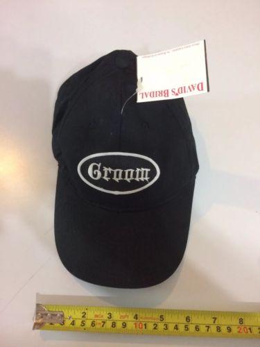 New!!  DAVID'S BRIDAL GROOM CAP BLACK BASEBALL WEDDING BACHELOR HAT OTTO COTTON