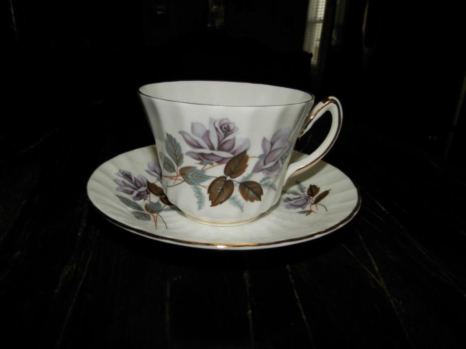 Royal Kendall vintage bone china tea cup & saucer purple rose