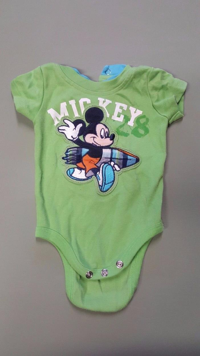 Disney 3-6 months baby boy one-piece snap shirt - Mickey Mouse with a surfboard