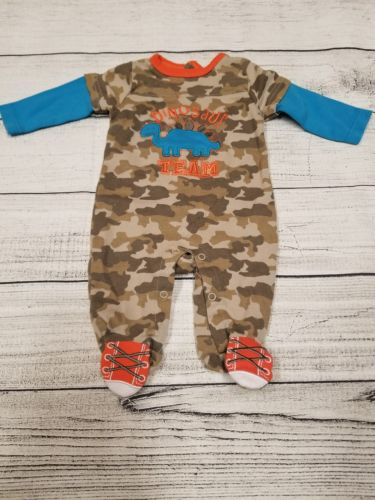 Weeplay baby boy 0-3 months dinosaur snap up footie pajamas