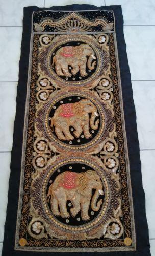 Vintage KALAGA Elephant Burmese Tapestry 58