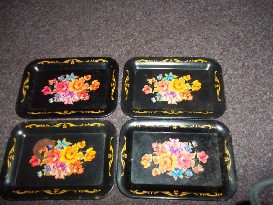 vintage black painted floral snack trays mid century 1950's set of 4