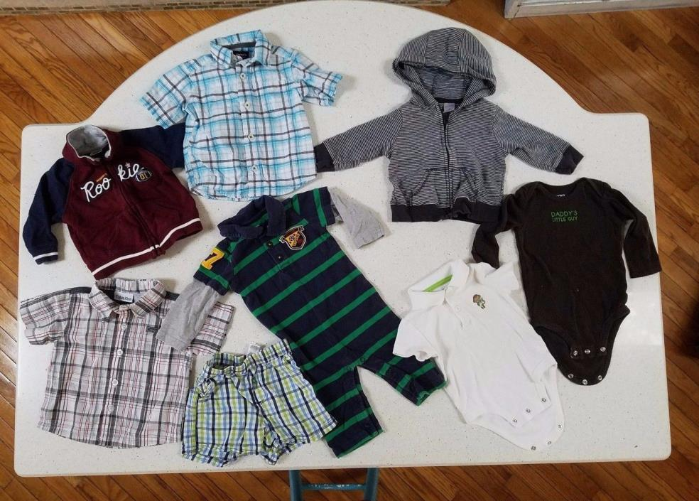 Lot of 8 PC Boy Size 6 Mo & 6-9 Fall/Winter Clothes Carters and more