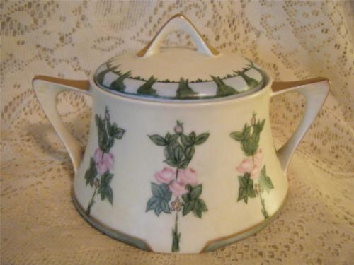 Vintage Hand-Painted Z.S.&Co.Bavaria Porcelain 2-Hndl Cracker Biscuit Cookie Jar