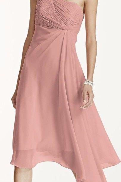 David Bridal Short One shoulder chiffon dress color Ballet size 6 Ven Style