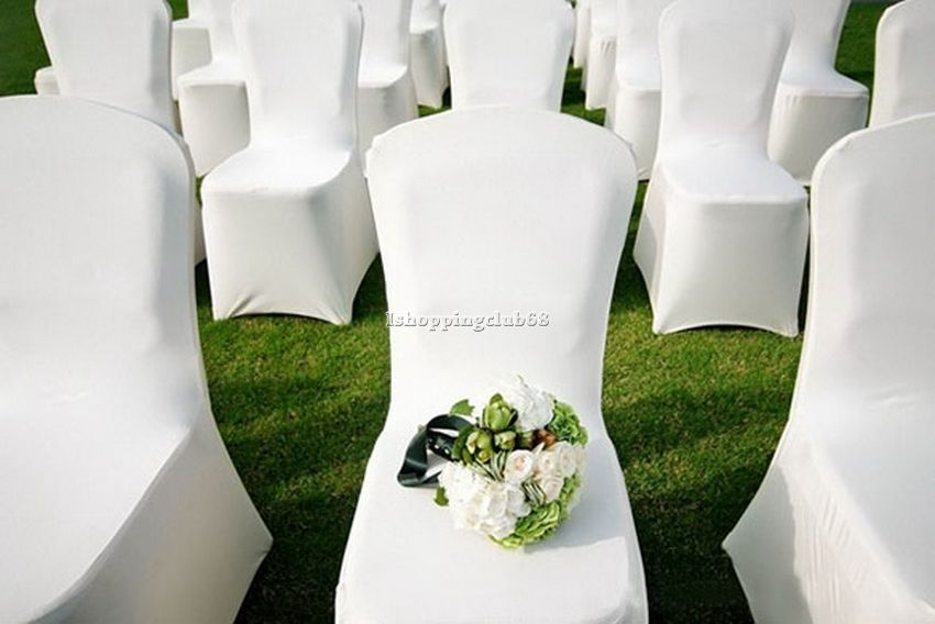 White Chair Covers 300pcs Spandex Lycra Wedding Banquet Anniversary Party Decor