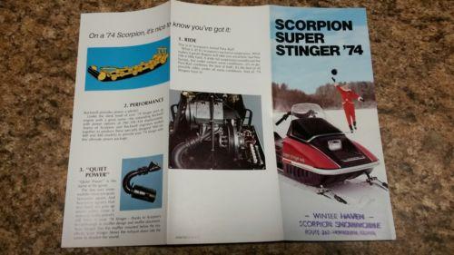 Scorpion snowmobile Vintage snowmobile 1974 super stinger small  brochure