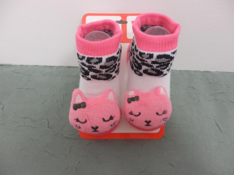 Kidgets 3D Animal Socks Baby Booties Pink White Kitty 0-12 Months-1pr -#S131