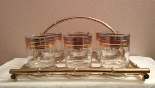 6 Culver Gold, Silver, Copper Ringed Lowball Bar Glasses With Brass Bamboo Caddy
