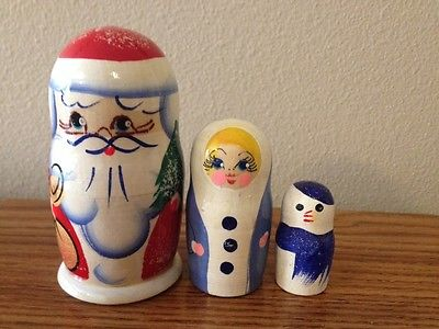 Russian Nesting Dolls Santa Beautiful 3 pcs Set!