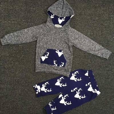 1Set Toddler Kids Baby Boy Girl Clothes Deer Hooded Tops Jacket +Pants Outfits