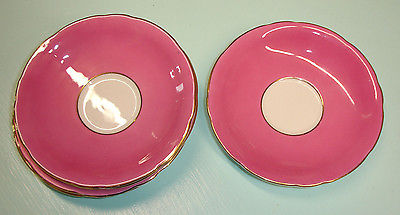 Vintage Ansley Vibrant Pink Teacup Saucers (5 saucers) Made in England