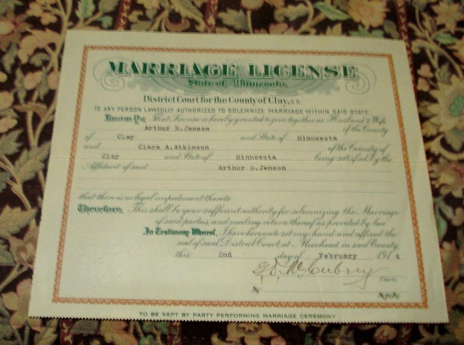 OLD 1914 MARRIAGE LICENSE OF CLAY COUNTY MINNESOTA