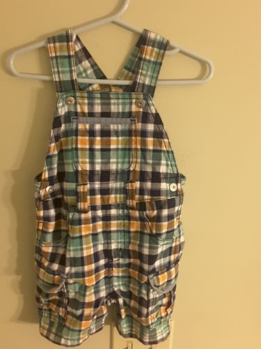 TODDLER 12-18 MONTHS, BOYS, GYMBOREE, COTTON BIB OVERALLS, USED LIGHTLY