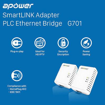 APOWER Homeplug AV2 600Mbps Ethernet Adapter, Starter Kit – 2 units (G701KIT)
