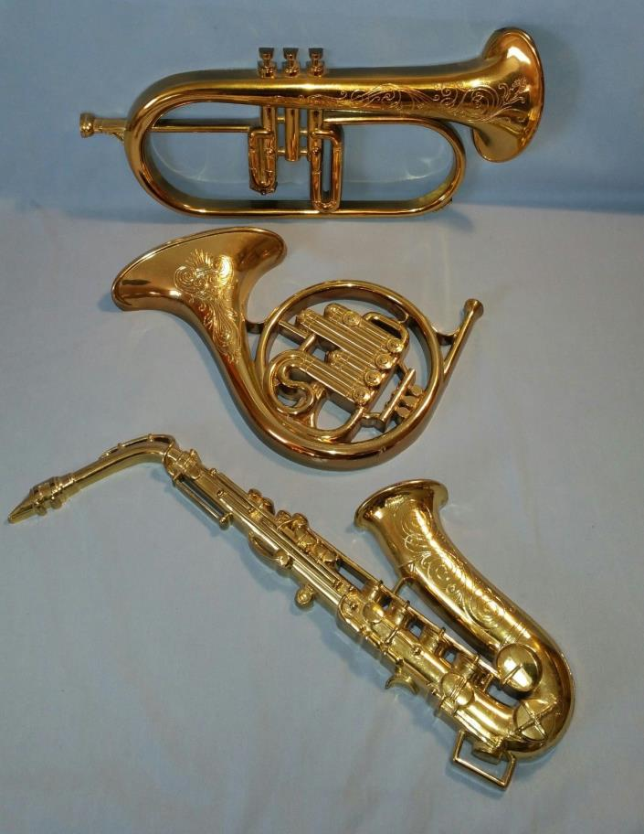 3 VTG Syroco Musical Instruments Plastic Wall Hangings Saxophone Trumpet Horn