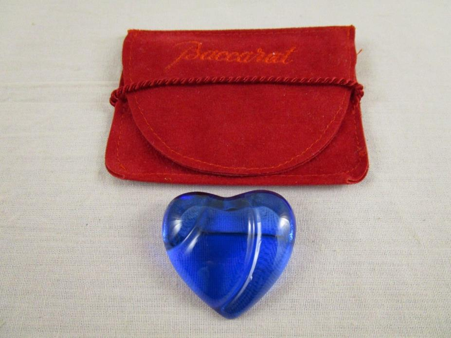 Baccarat France HEART Cobalt Blue Crystal Silver Pin Brooch in Pouch SIGNED