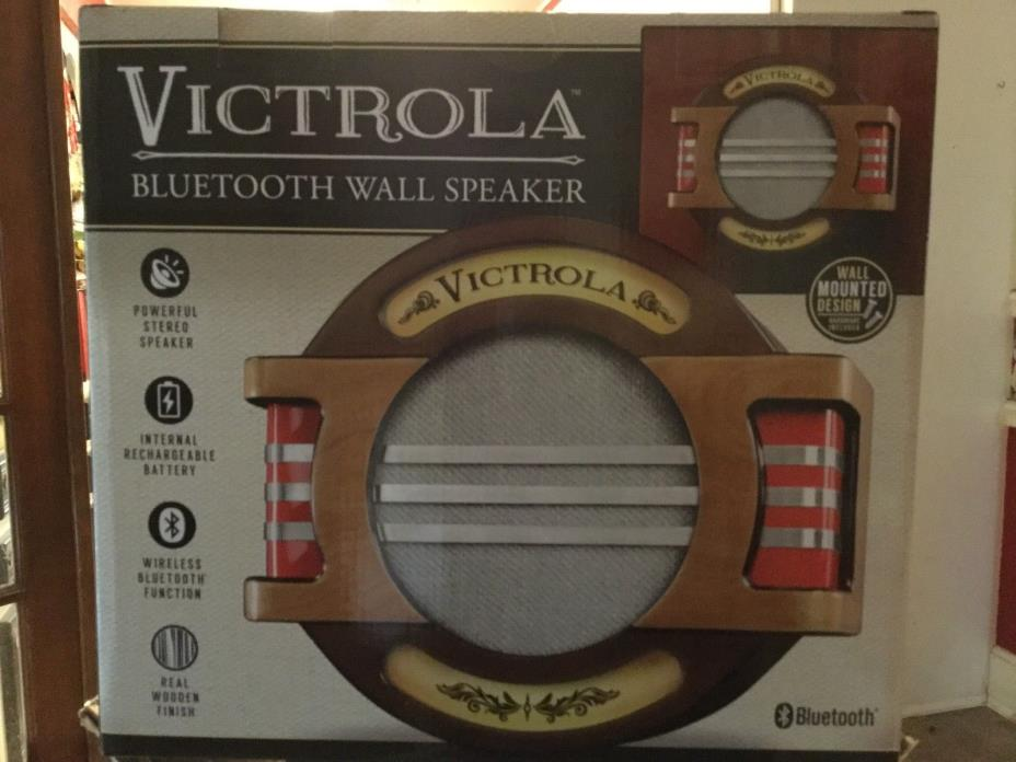 Victrola Nostalgic Wall Mount Bluetooth Music  Speaker with Rechargeable Battery