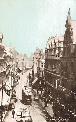 Newport,Wales,U.K.High Street,Trolley Car,Monmouthshire,c.1909