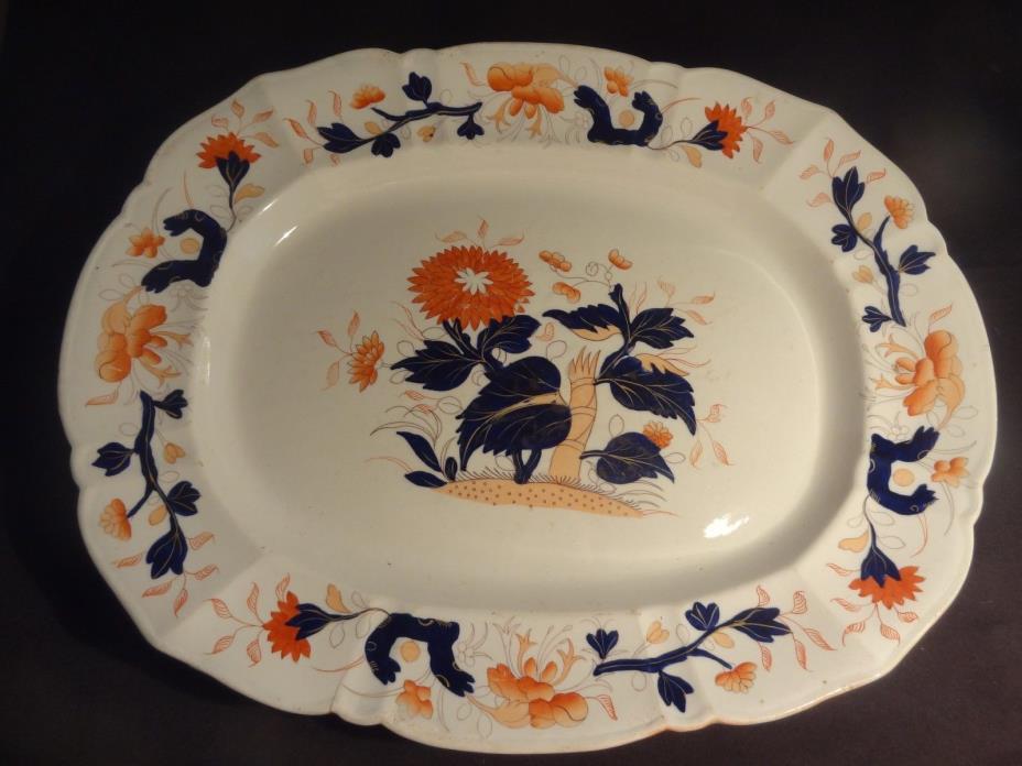 Large Antique English Platter Meat Dish Masons Ironstone Hand Painted c1825-1845
