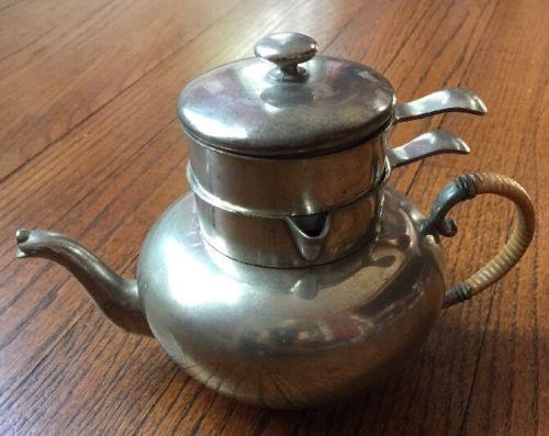 Pewter Stacked Teapot W/ Sugar/Creamer 4pc International Pewter