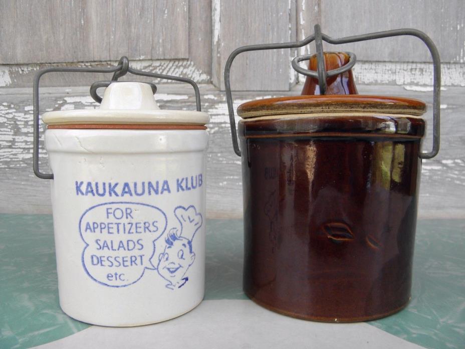 [2] Vintage Glazed Stoneware Crocks Sour Dough Starter Butter Cheese