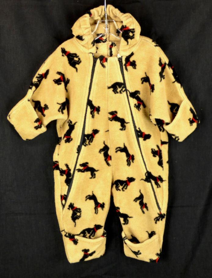 218 SEEDS Corky & Company baby hood snowsuit Bunting Infant fleece DOG EUC 9-12m