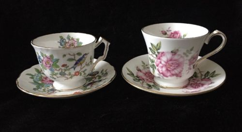 2 Aynsley Teacup Sets Pembroke Bird Crocus Shape And Pink Roses, Mint Condition