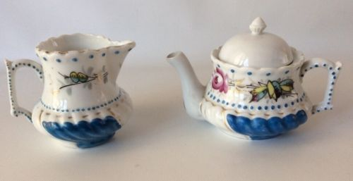 Whimsical Antique Blue White Mini Teapot Creamer Set Hand Painted Dots Floral