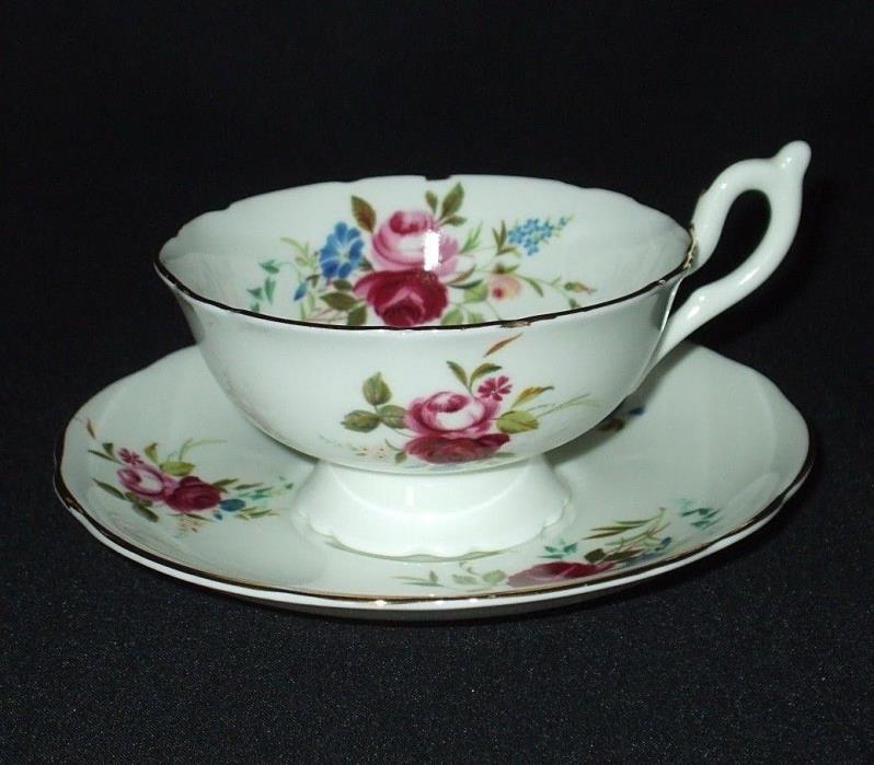 HEATHCOTE S708 Antique Tea Cup Saucer Set Fine Bone China Teacup Roses Red Blue
