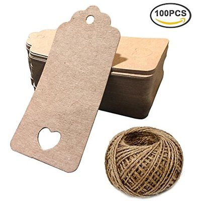 Kraft Paper Love Heart Gift Tags With String, Brown Blank Hang Wrap For Wedding