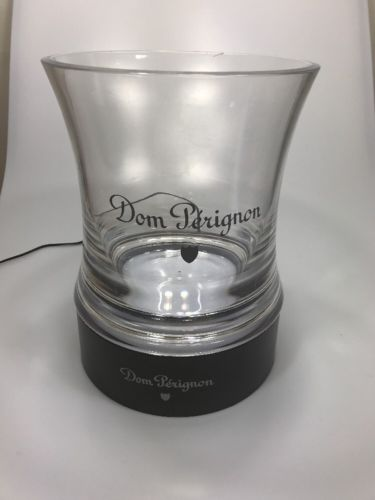 Dom Perignon Champagne Bucket Clear Acrylic Light Up Two Color LED Base Signed