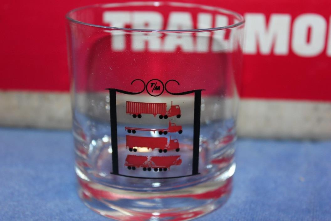6 Vintage Trailmobile Advertising Semi Truck Drivers Barware Glasses Cups Scotch