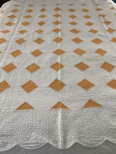 EARLY and LUSHLY QUILTED - Cheddar/White QUILT 1800's